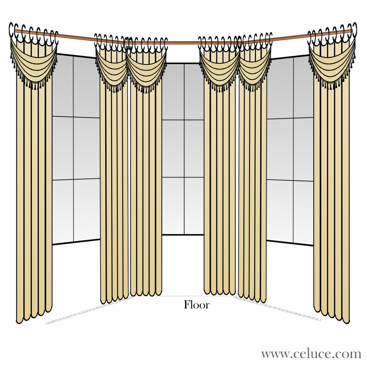 Drapes With Swags On Bay Window