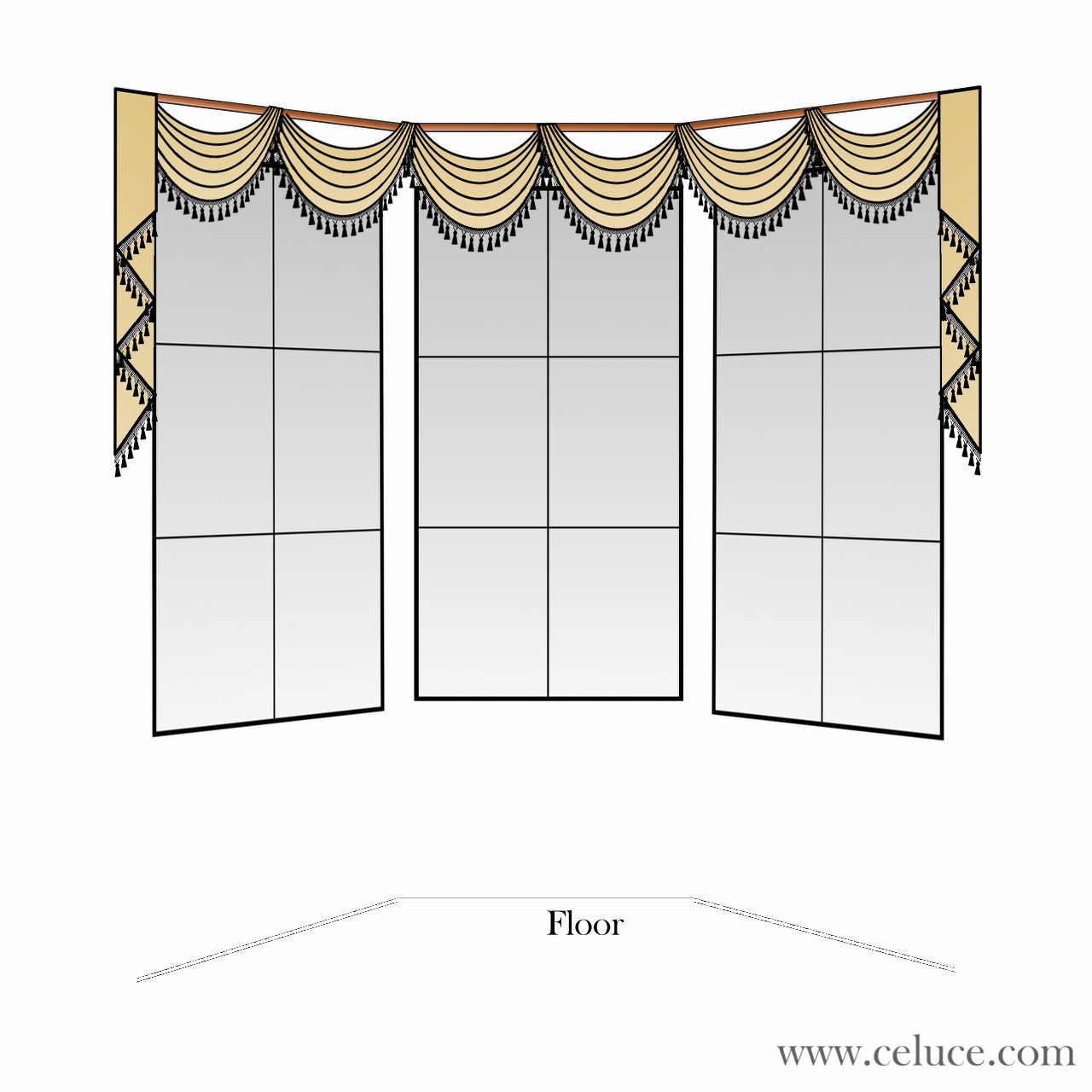 Pole Swag Valance on Bay Window