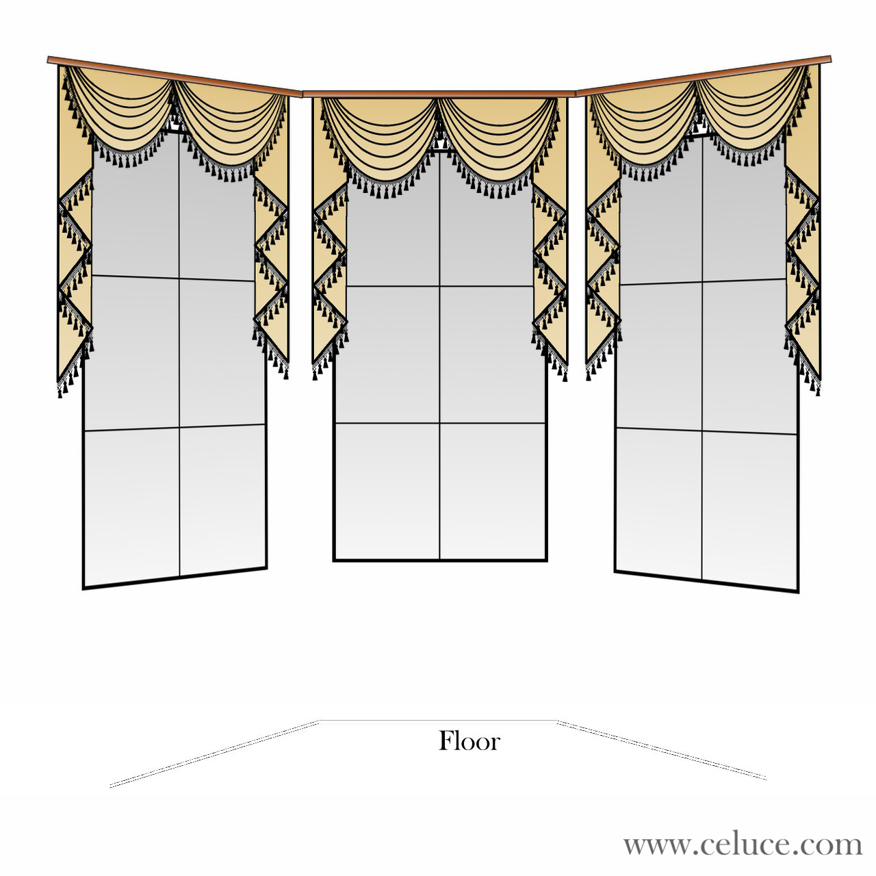 Rod Pocket Swag Valances on Bay Window